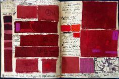 """15.5.16"""" Blauzac Les carnets d'Asie - 28x42cm Garance de Claudine Vallee Carmin (Cochenille)  Différents mordants et post-mordant. Pigment mauve"""