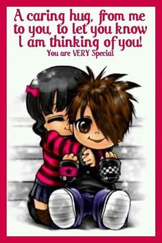 A caring hug. Hugs And Kisses Quotes, Hug Quotes, Kissing Quotes, Thinking Of You Quotes, Thinking Of You Today, Happy Day Quotes, Good Night Quotes, Good Morning Funny, Good Morning Greetings