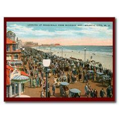 Boardwalk View, Atlantic City NJ Vintage Postcard