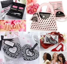 How about stuffing your bridesmaids welcome gift baskets with a manicure kit favor or a trendy luggage tag?  http://bride2be.theaspenshops.com/category/girls-night-out.html