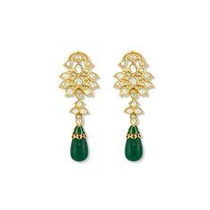 Intricate craftsmanship meets tasteful splendor. Beautiful cabochon teardrop Emeralds dangle beneath 22k yellow gold crafted around brilliant Polki Diamonds for a pair of breathtaking dangle drop earrings.