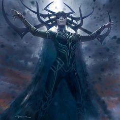 Thor: Ragnarok Concept Art and Illustrations by Andy Park Marvel Dc, Marvel Hela, Marvel Comics, Films Marvel, Marvel Villains, Marvel Heroes, Marvel Characters, Thor Ragnarok Hela, Hela Thor