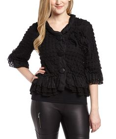 Another great find on #zulily! Black Mixed Media Linen-Blend Button-Up Jacket - Women by Pretty Angel #zulilyfinds
