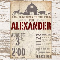 Barnyard Bash / Farm Party Invitation / Barn by LucLilahEvents
