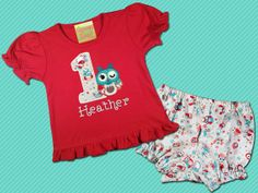 Girl's Owl Birthday Frill Top with Coordinating by SunbeamRoad, $39.50