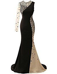 HUINI Crystal Sheer un Hombro Largo Vestido de Baile Vestidos de Fiesta de Noche de Sirena