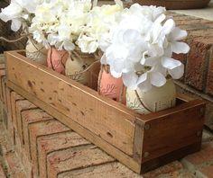 Custom made rustic planter box wtih 5 painted mason jars.  painted mason jars. mason jars. rustic home decor.. $70.00, via Etsy.