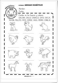 """""""Animales domésticos"""" (Fichas en español e inglés de Educaplanet)"""