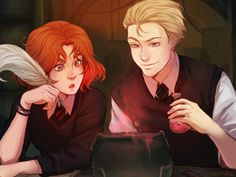 scorpius and rose by nymre Oh come on why couldn't this have been Draco X Hermione. Arte Do Harry Potter, Images Harry Potter, Harry Potter Ships, Harry Potter Anime, Harry Potter Universal, Harry Potter World, Harry Potter Hogwarts, Draco And Hermione, Draco Malfoy