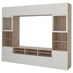 IKEA BESTA Walnut Effect Light Gray, Selsviken High Gloss/white Clear Glass TV storage combination/glass doors Tv Storage, Storage Spaces, Record Storage, Besta Tv Bank, Tv Bench, Muebles Living, Frame Shelf, Ikea Family, White Stain