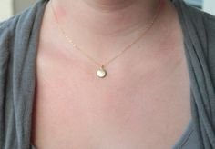 Tiny round locket  gold necklace by Hibiscusdays on Etsy, $21.00