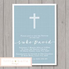 Boy Baptism Invitation Printable / Boy by LittleBelleDesign