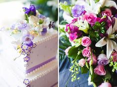Colorful purple and pink flowers decorate the wedding cake and tables. // Venue: Top Of The Town | Pier 23 Photography