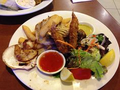 Seafood to mark our 16th Anniversary.   Restaurant: CC Cafe, Raby Bay, Cleveland