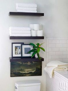 Floating shelves look cool on their own. But a vertical trio of shelves is a pretty approach to over-the-toilet storage. Build them yourself with our helpful tips!