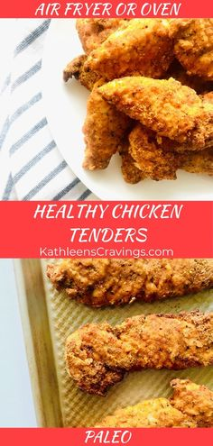 Healthy Chicken Tenders are paleo and kid-friendly! Make them in your air fryer or oven, for an easy family friendly meal. Almond flour instead of bread crumbs in these healthy chicken fingers. Recipe at KathleensCravings… Healthy Breaded Chicken, Paleo Chicken Tenders, Healthy Chicken Fingers, Breaded Chicken Recipes, Air Fryer Chicken Tenders, Chicken Finger Recipes, Healthy Chicken Recipes, Kid Friendly Chicken Recipes, Cooking Recipes