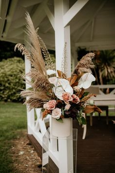 Outdoor Garden Nigerian Wedding with Bride in Riki Dalal Wedding Dress & Anthurium and Pampas Grass Flowers by Elena Popa Photography Modern Wedding Flowers, Wedding Ceremony Flowers, Flower Bouquet Wedding, Floral Wedding, Gerbera Wedding, Altar Flowers, Bridal Bouquets, Silk Flowers, Boho Wedding