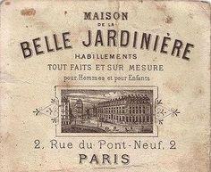 Postal Maison belle jardiniere paris blanco y negro