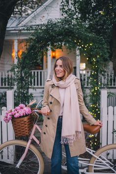 Gal Meets Glam Winter Bike Ride -Pure Cycle Pink Bike, Burberry trench, J.Crew sweater & J.Crew jeans