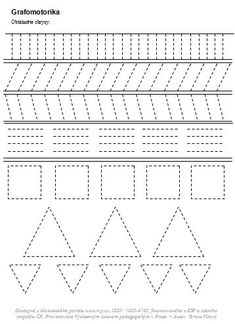 Grafomotorika | Předškoláci - omalovánky, pracovní listy Numbers Kindergarten, Kindergarten Learning, Teaching Math, Printable Activities For Kids, Preschool Worksheets, Preschool Activities, Line Tracing Worksheets, Pre Writing Practice, Writing Folders