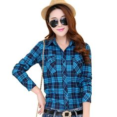 2017 New Arrival Flannel Plaid Shirt Women Tops Casual Cotton Plus Size Long Sleeve Blouses Shirts Clothing Girl Chiffon Blouse