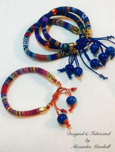 "We love these colorful ""Regatta"" woven cord bracelets by Alexandra Marshall with adjustable knot closures. $22. Ea...or 3 for $59.  reference #B2319"
