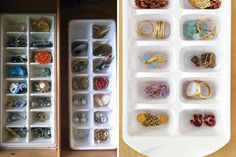Ice CUbe Tray Jewelry HOlder + You can decorate it do make it look better than some old plain-jane ice cube tray + Brilliant DIY Organization Hacks via Brit + Co. Organisation Hacks, Organizing Hacks, Jewelry Organization, Garage Organization, Diy Organizer, Jewellery Storage, Jewellery Display, Earring Storage, Diy Décoration