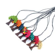 Shinus Statement Maxi Choker Necklaces Women Jewelry Christmas Gifts Tree Of Life Rainbow Pendant Wood Beads Leather Chain