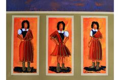 Madeiran traditional female costumes - painting by Jorge Santos Silva, on display at Hotel Porto Santa Maria, Funchal, Madeira Island