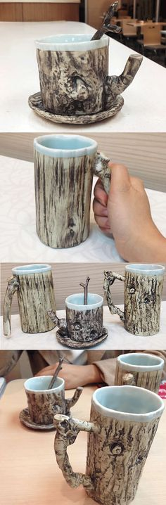 Ceramic Tree Bark Coffee Mug Looks Like a Tree trunk.