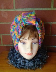 Hand dyed, spun and knitted headdress