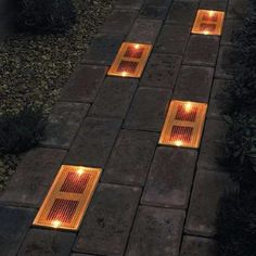 Sun Bricks are solar powered outdoor light fixtures that can be built into a brick or stone walkway. Unlike traditional outdoor lights, sun bricks are designed to be flush with the ground, giving the effect of an illuminated pathway, rather than a path th Garden Shed Lighting Ideas, Backyard Lighting, Outdoor Lighting, Outdoor Decor, Garage Lighting, Tree Lighting, Exterior Lighting, Solar Powered Outdoor Lights, Solar Lights