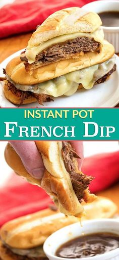 Instant Pot French Dip Sandwiches are made with tender, flavorful roast beef and delicious au jus on a hoagie roll. Pressure cooker French Dip sandwiches are faster to make in the Instant Pot! simplyhappyfoodie #instantpotrecipes #instantpotfrenchdip #instantpotroastbeef #pressurecookerfrenchdip