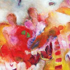 Een mooi abstract kleurrijk schilderij met mensfiguren, geschilderd in mooie warme kleuren en kleurtinten.   De mensvormen zijn mooi verweven geschilderd in een rustige achtergrond.   Een sterk sfeer schilderij met een mooie expressie en thema.