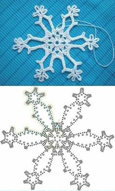 Wonderful DIY Crochet Snowflakes With Pattern Crochet snowflake chart Crochet Snowflake Pattern, Crochet Stars, Crochet Motifs, Christmas Crochet Patterns, Holiday Crochet, Crochet Snowflakes, Crochet Diagram, Christmas Snowflakes, Crochet Doilies