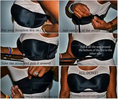 Do it yourself bra hacks; Tips on how to hide lingerie straps; DIY tricks to keep breasts in place in backless, strapless, etc. Look Fashion, Diy Fashion, Fashion Beauty, Womens Fashion, Fashion Tips, Fashion Hacks, Fashion 2014, Vintage Fashion, Fashion Clothes