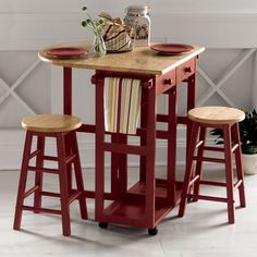 Fresh Drop Leaf Kitchen Table with 2 Round Stools