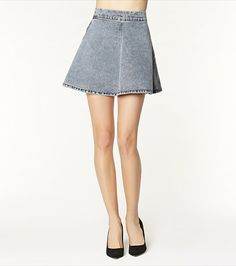 Dare to flare with this cute acid wash high waist denim skirt!