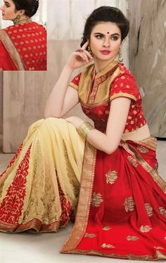 Picture of Aesthetic Buttercream and Red Color Saree
