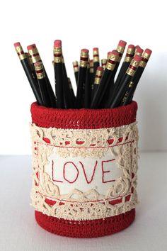 Desk Organizer SINGLE RED LOVE Pencil Holder by creativecarmelina