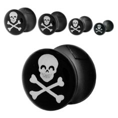 Style Sanctuary  - Black Acrylic Ear Plug with Skull