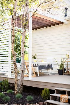 Patio Decor Ideas: A Modern, Family-Friendly Deck - cool & modern privacy screen and beautiful planting bench (not pictured)