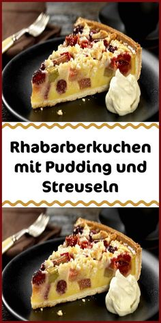 Rhubarb cake with pudding and sprinkles - Rhubarb cake with pudding and crumbles is always possible! Juicy rhubarb between creamy custard and - Filipino Recipes, Greek Recipes, French Recipes, Best Foods For Skin, Rhubarb Cake, Pudding Cake, Polish Recipes, Group Meals, Custard