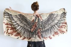 Silk Cotton Women scarf Earthy Wings and feathers by Shovava, $68.00