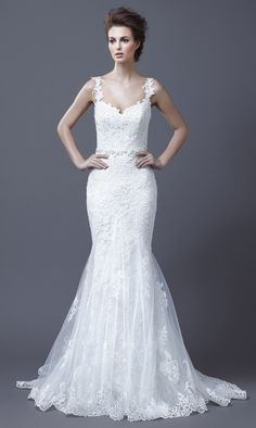 This glamorous Enzoani wedding gown is ideal for a bride with a smaller frame.