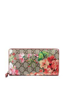 GG Blooms Zip-Around Wallet, Multi Rose - Gucci