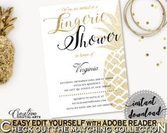 Lingerie Shower Invitation Editable Bridal Shower Lingerie Shower Invitation Editable Pineapple Bridal Shower Lingerie Shower 86GZU #bride #bidal #wedding #bridalshower #bridal-shower