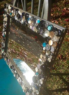 Handmade mosaic mirror, grey mirror by MosaicTreasureBox on Etsy
