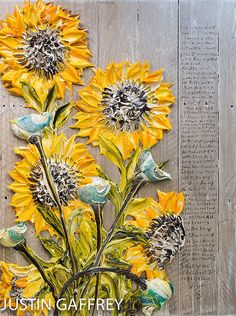 """My favorite artist out of 30A - 30""""x40"""" - Acrylic on Pallet Wood - Sunflower Series - Artist, Justin Gaffrey"""