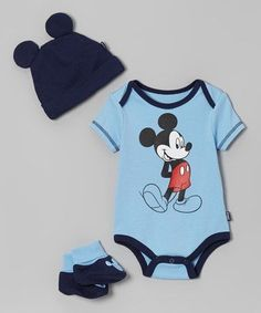 Take a look at this Blue & Black Mickey Bodysuit Set - Infant by Disney on #zulily today! #babyclothesdisney